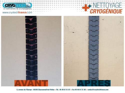 Nettoyage cryogénique de-chaine-de-convoyage-peinture-aerosol-1 CRYO'TECH