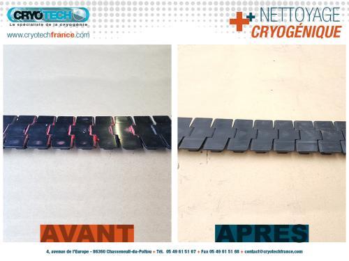 Nettoyage cryogénique de-chaine-de-convoyage-peinture-aerosol-3 CRYO'TECH