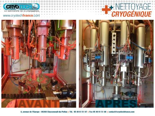 Nettoyage cryogenique ligne conditionnement de spray de peinture