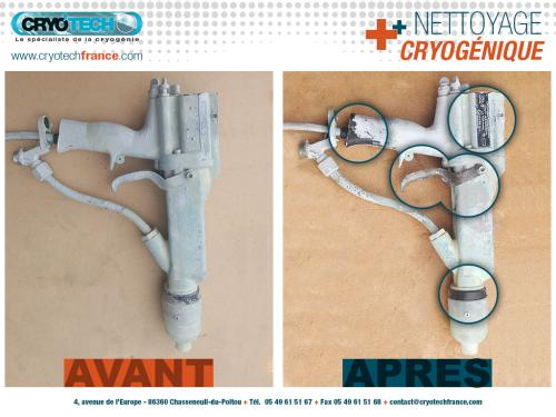 Nettoyage cryogenique sur pistolet de peinture - CRYO'TECH
